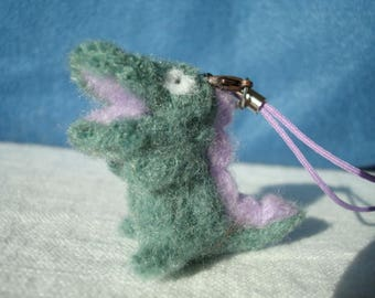Needle felted green and lilac crocodile plush keychain