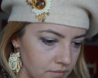 Beret, wool, Cap, Soutache, felt, beret, headpieces, hat, Hüt, hat, Cap, folk, elegant