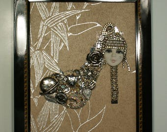 Framed Jewelry Art, Rhinestones & Crystals, rhinestones, hand crafted Mixed Media Collage