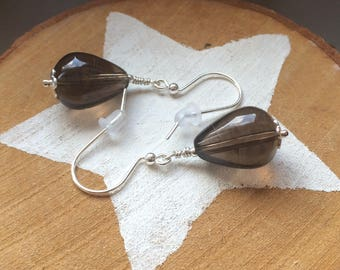 Sterling silver smokey quartz drop earrings