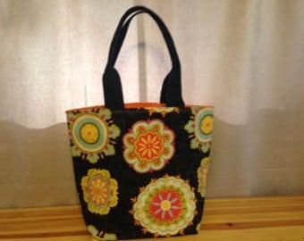 Tote, Black floral, Orange solid inside with pockets