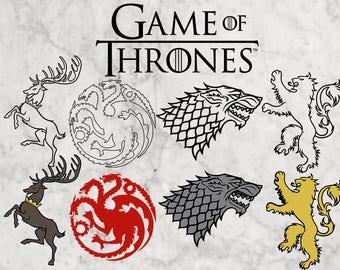 Game of thrones Svg, Game of thrones Clip art, dfx, eps & png clipart, stark logo, lannister, baratheon, targaryen logo, GOT logo vector.