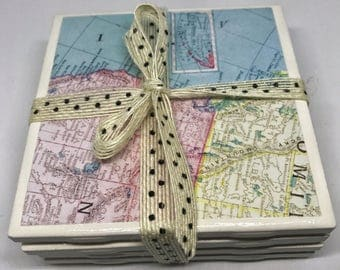 Ceramic Tile Coasters |  Set of 4 Map of US Coasters