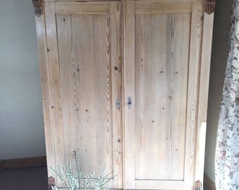 Solid pine antique wardrobe/armoire