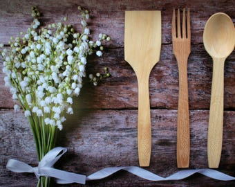 Wooden kitchen tools Cookware, Wooden spoon, Wooden fork, Wooden spatula, Rustic decor kitchen decoration