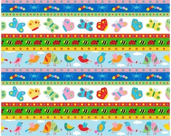 Animals in a Row Backyard Buzz Cotton Fabric by Blank Quilting