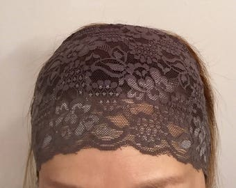 """Beautiful Boho Scalloped Lace Headband in Gray perfect for Coachella and Festivals! 10"""" x 5 1/4"""" Wide. Stretch lace."""