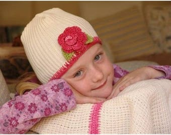 Beanie 100% Cotton with Bamboo Trim and Rose