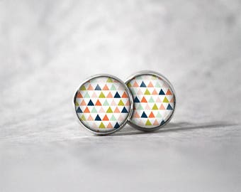 Earrings 12 mm cabochon / Triangles