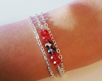 Triple chain silver beads with red and purple