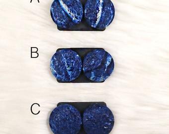 Deep Sea - Hand Pressed Fabric Earrings