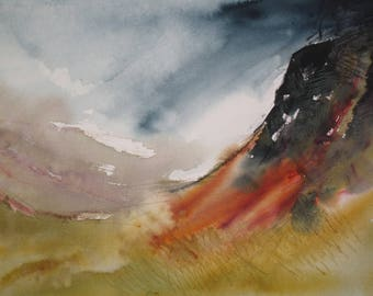 """Storm aproaching. Original watercolour landscape painting of Autumn valley and dark weather over mountains. Abstract. Size 14"""" x 10""""."""