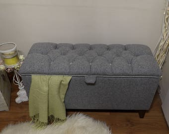 Grey wool ottoman storage box deep buttoned end of bed seating