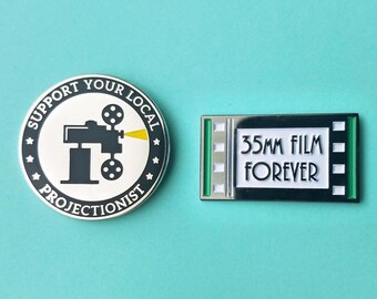 Enamel Pin Set, 2 Cinema Pins, Lapel Pin Gift, Projectionist Flair, 35mm Film Forever, Support Your Local Projectionist, Movie Theater Pin