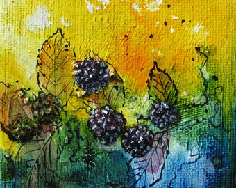 Acrylic Painting Original - Painting of Brambles by Jackie Lowman – Mini Art Original - Textured Art - Gift for Art Lover - Canvas Art
