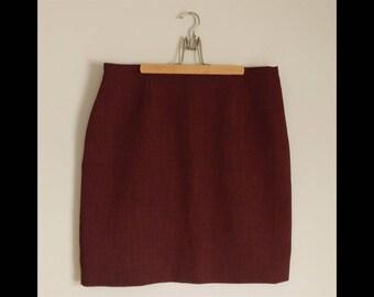 Pencil Skirt / Miniskirt / Red Skirt / Mini Skirt / Tweed Mini Skirt / Tweed Pencil Skirt / Tweed Skirt / Office Wear / 60s Skirt
