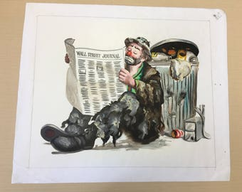 "Donald Rust limited Edition Original Painting Of Emmett Kelly ""Rubbish"""