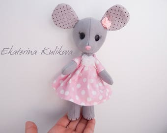 Felt mouse girl room decor mouse doll girl mouse in dress gift for girl grey mouse