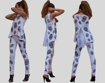 White scull tunic/ Zipper back tunic/ Scull leggings/ Zipper chiffon back/ White leggings/ Skull costume