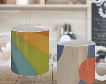 Retro Graphic Design Mug Bundle - Set of 2 Mugs