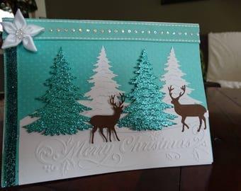 "Teal Winter Scene ""Merry Christmas"" Card"