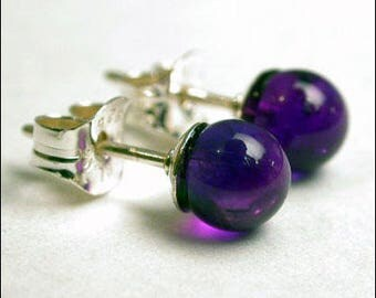 Amethyst 4mm Round Studs Earrings - Sterling Silver