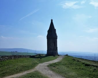 Colour photograph of the historic Hartshead Pike.