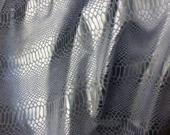 Beautiful Silver foil Snakeskin print On White Spandex fabric - 4 Way Stretch - Great for dance costumes and festival wear