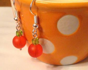 Glass Beaded Earrings-orange and green