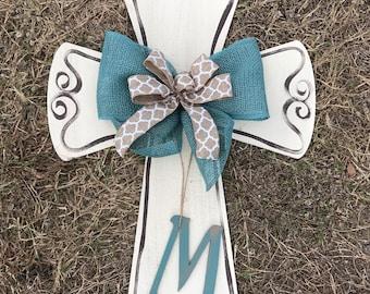 Cross Door Hanger, Monogram, Spring Door Hanger, personalized, Front Door Decor, Wreath, Cross, Christian Door Hanger, Summer Door Hanger