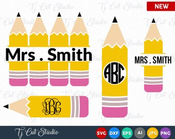 Pencil Monogram SVG, Pencil Circle Monogram, Split Pencil SVG Files, Pencil Circle Monogram, svg Files, Pencil SVG, Teacher Svg