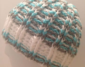 Crochet Handmade Womens New Hat Light Gray One Size