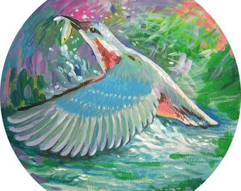 Bird painting Acrylic painting Original painting Common Kingfisher Small gift painting  Wall art Round Wall heng decor Discount painting