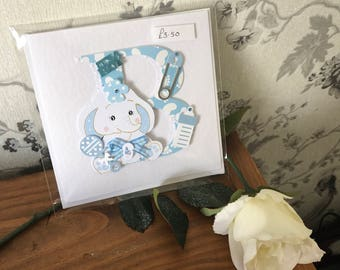Handmade boys new baby card