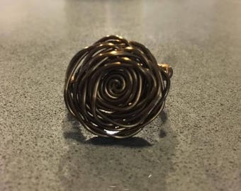 Brass wire wrapped rose ring, Size 6.5