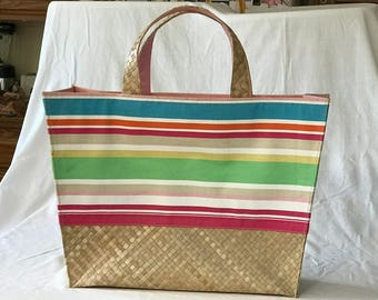 Vintage Straw and Fabric Beach/Pool Tote