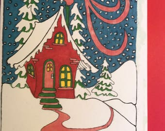 Red Home large Christmas Card, set of 6