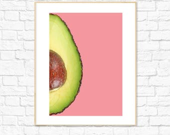 Avocado Print, Pink Food Art, Fruit Print, Photography, Kitchen Dining Room Decor, Colorful Minimalist Printable Wall Art, Instant Download