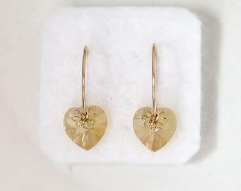 Hoop earrings gold, Heart earrings, Swarovski crystal earrings, champagne crystal earrings, Birthday gifts for girls, swarovski earrings