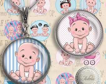 Baby Boy, Baby Girl - Digital Collage Sheet - Printable Download - gift tags - Instant Download