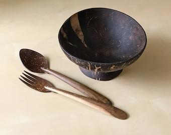Set of Coconut Bowl & Cutlery handmade