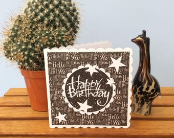 Monotone happy birthday card