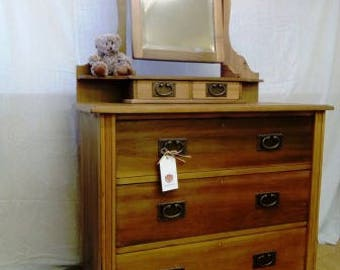 Fabulous Solid Pine Edwardian Dressing Table Chest of Drawers and Mirror