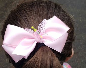 Pink Satin Hair Bow with Butterfly Clip Center