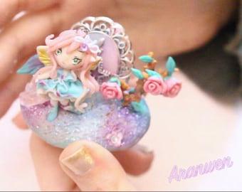 OOAK Secret Enchanted Garden Fairy pendant figure cake topper miniature