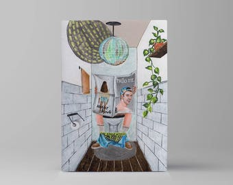 Disco toilet // original acrylic painting // quirky art // inspiring wall art // positive inspiration
