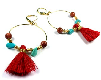 BO Creoles BAHIA brass Golden end 24 K stone Turquoise and Red Pompom