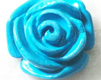 21.70 Cts Howlite Turquoise Rose Carving For Pendant & Ring ~Buy It Now~