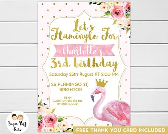 Girls Let's Flamingle Floral Watercolor and Faux Gold Foil Birthday Invitation, Lets Flamingle Birthday Invitation, Flamingo Birthday Invite