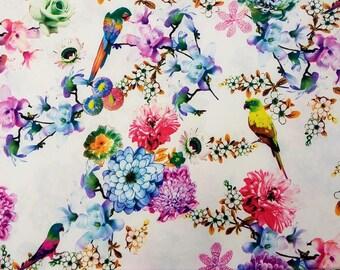 TROPICAL FLORAL Silk Fabric, Artificial Silk Fat Quarter Floral Fabric, Flower Fabric, Birds Parrots Fabric, Colourful Artificial Silk,